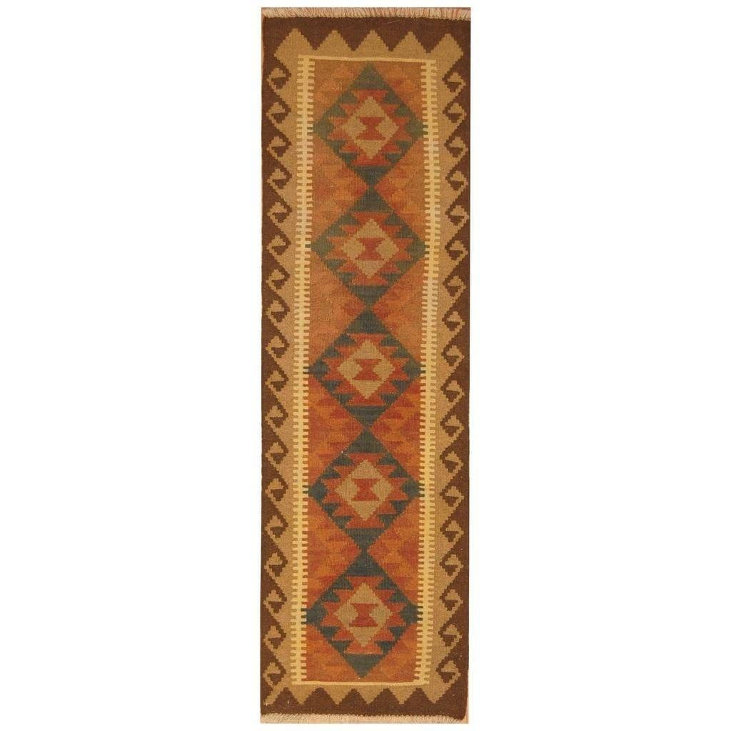 Handmade Herat Oriental Afghan Hand-woven Mimana Wool Kilim (2 x 67)