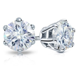 Auriya Round Moissanite Stud Earrings 1 1 2ct DEW 6 Prong Basket Platinum 5 9 Mm Screw Backs