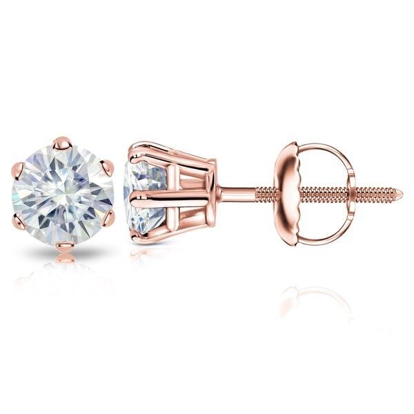 5590484b9 Auriya Round Moissanite Stud Earrings 1 carat TW 14k Gold - 1.00ct