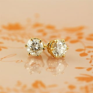 14k Gold 1 Carat TGW Round Brilliant Moissanite Stud Earrings - 1.00ct