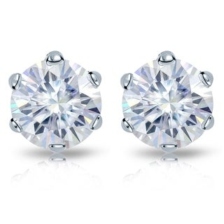 Auriya Round Moissanite Stud Earrings 4ct DEW 6 Prong Basket 14k Gold 8 2 Mm Screw Backs