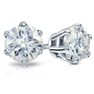 Platinum 5ct TGW Round 6 Prong Moissanite Stud Earrings by Auriya - 5.00ct