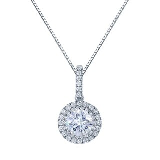 14k Gold Round 2ct Moissanite and 5/8ct TW Double Halo Diamond Necklace - 2.00ct