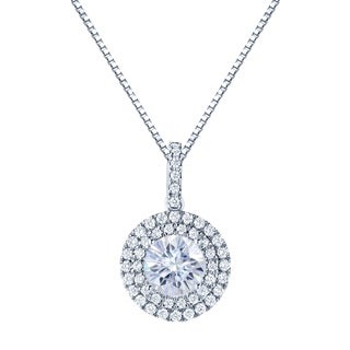 14k Gold Round 4ct Moissanite and 3/4ct TW Double Halo Diamond Necklace - 4.00ct