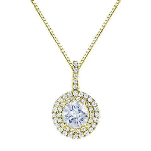 Auriya 14k Gold 3ct Double Halo Moissanite and Diamond Necklace 3/4ct TDW