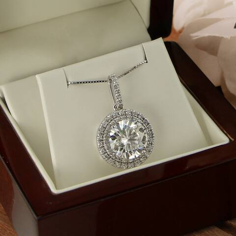 Auriya 3ct Round Moissanite and 3/4ct TW Double Halo Diamond Necklace 14k Gold - 3.00ct