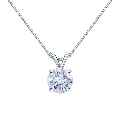 Auriya Solitaire Moissanite Necklace 1 1/2ct DEW 18k Gold - 7.4 mm