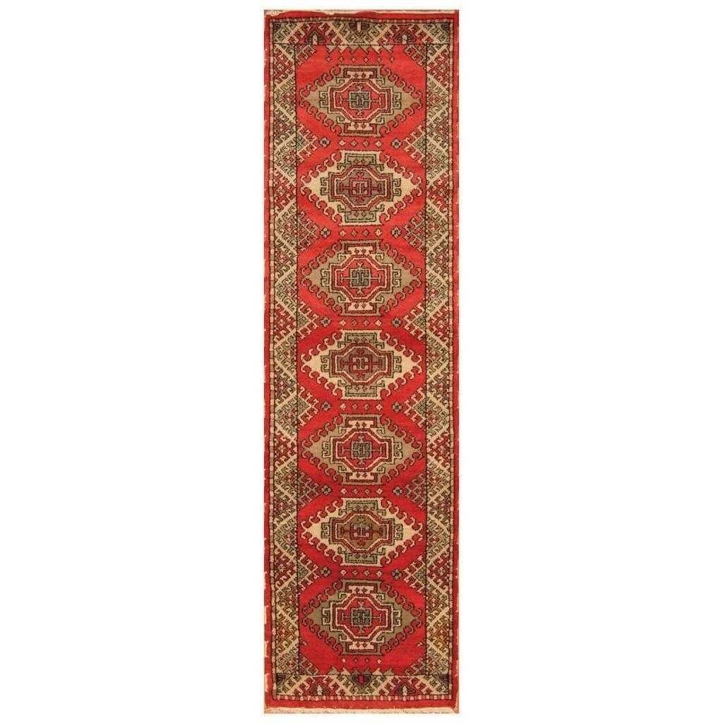 Handmade Herat Oriental Indo Hand-knotted Kazak Wool Runner (29 x 99)