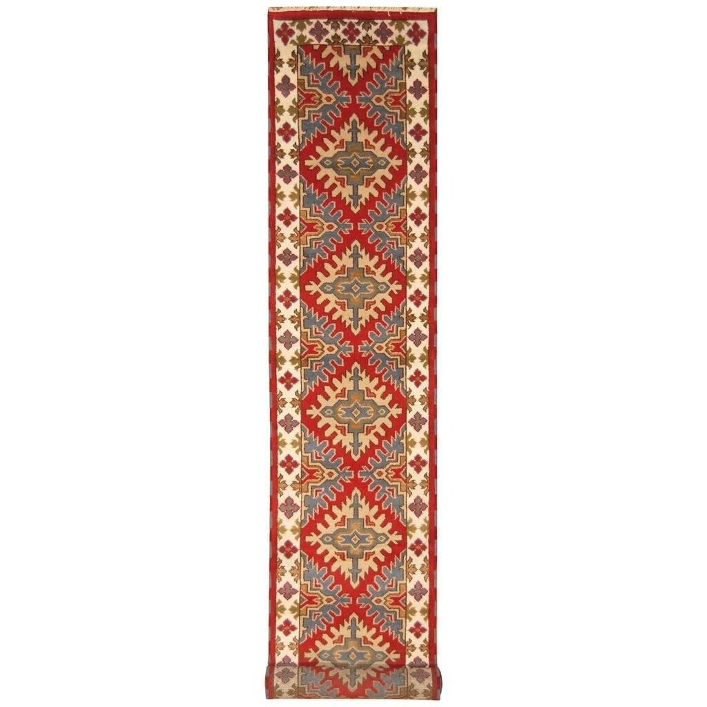 Handmade Herat Oriental Indo Hand-knotted Kazak Wool Runner (28 x 1510)