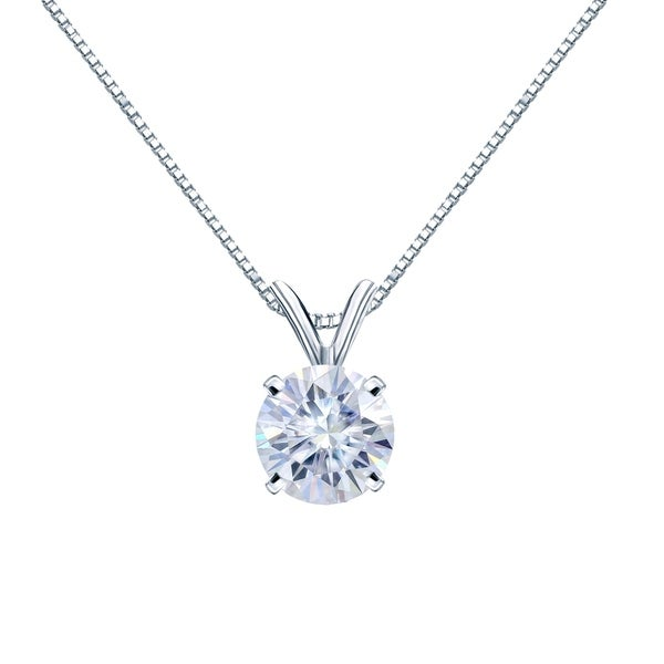 Auriya 14KT Gold 1 1/4ctw Round Solitaire Moissanite Necklace - 7 mm - 7 mm. Opens flyout.