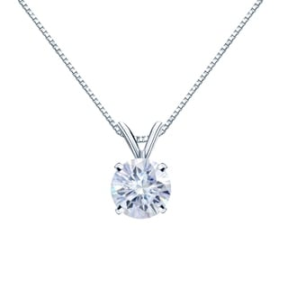 Auriya Solitaire Moissanite Necklace 1 1 4ct DEW 18k Gold 7 Mm