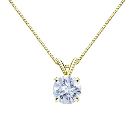 Auriya Solitaire Moissanite Necklace 1ct DEW 14k Gold - 6.5 mm