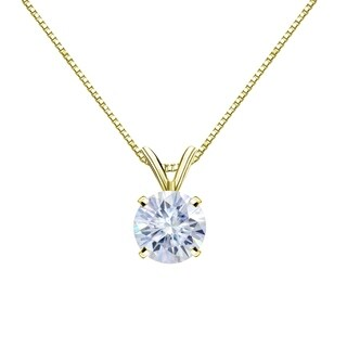14k Gold Round 1 carat GTW Solitaire Moissanite Necklace by Auriya - 1.00ct