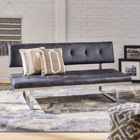 Bezout Contemporary Tufted Microfiber and Iron Sofa Bench by Christopher Knight Home