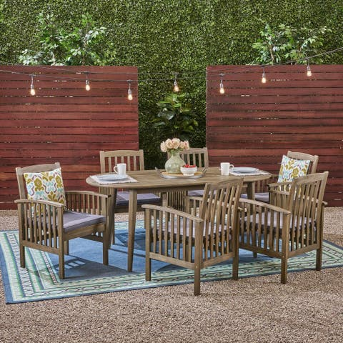 Casa Outdoor 6-seater Oval Acacia Dining Set by Christopher Knight Home