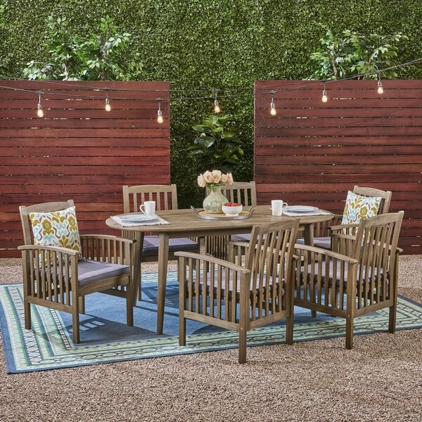 Casa Outdoor 6-Seater Oval Acacia Dining Set with Straight Legs by Christopher Knight Home