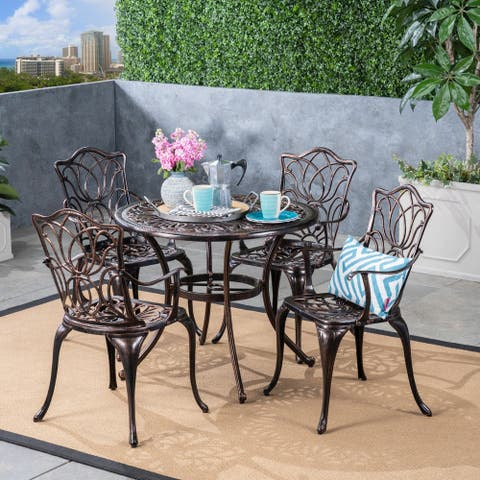 Tucson Outdoor 4-seater Round Cast Aluminum Dining Set by Christopher Knight Home