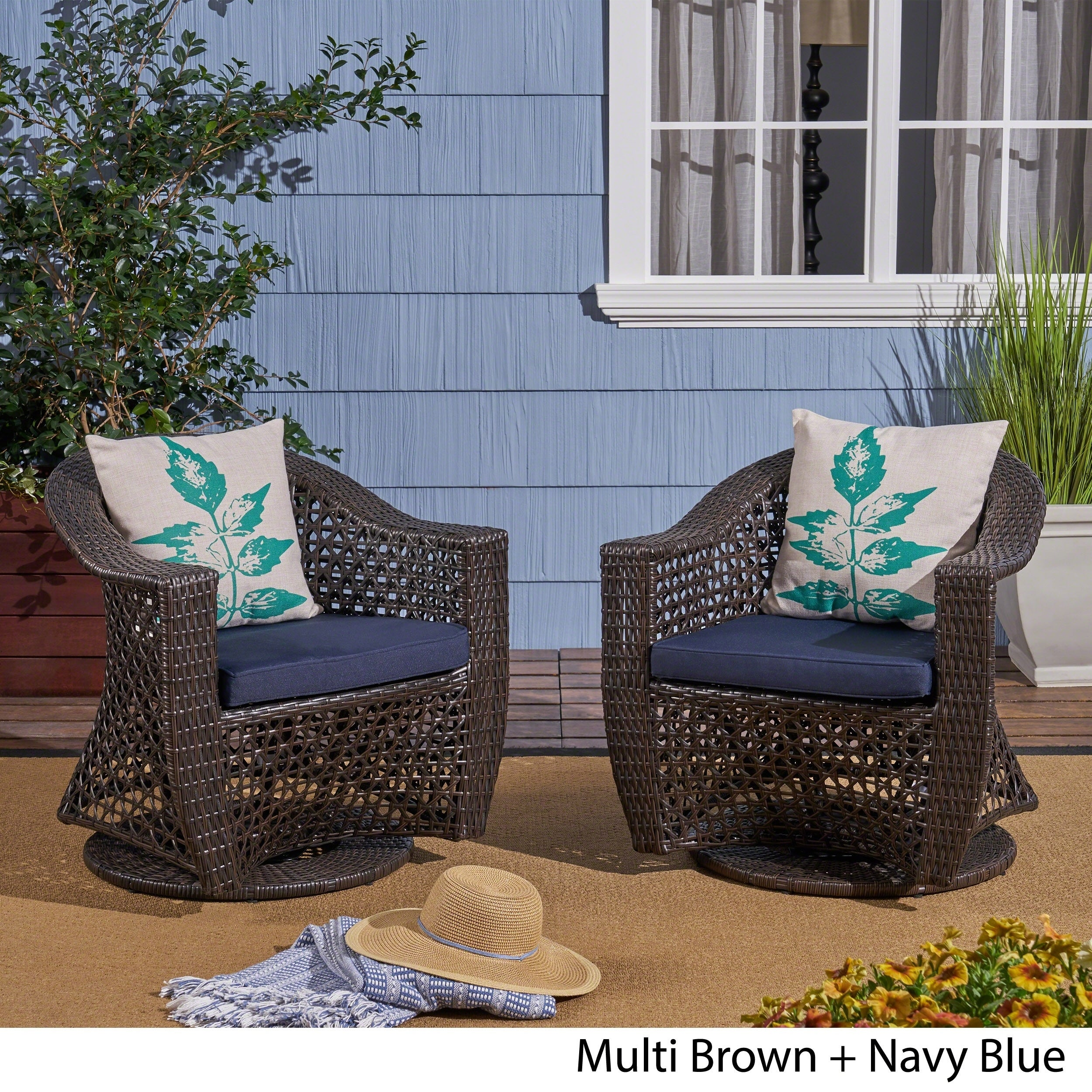 Terrific Big Sur Outdoor Wicker Swivel Chair With Cushions Set Of 2 By Christopher Knight Home Evergreenethics Interior Chair Design Evergreenethicsorg