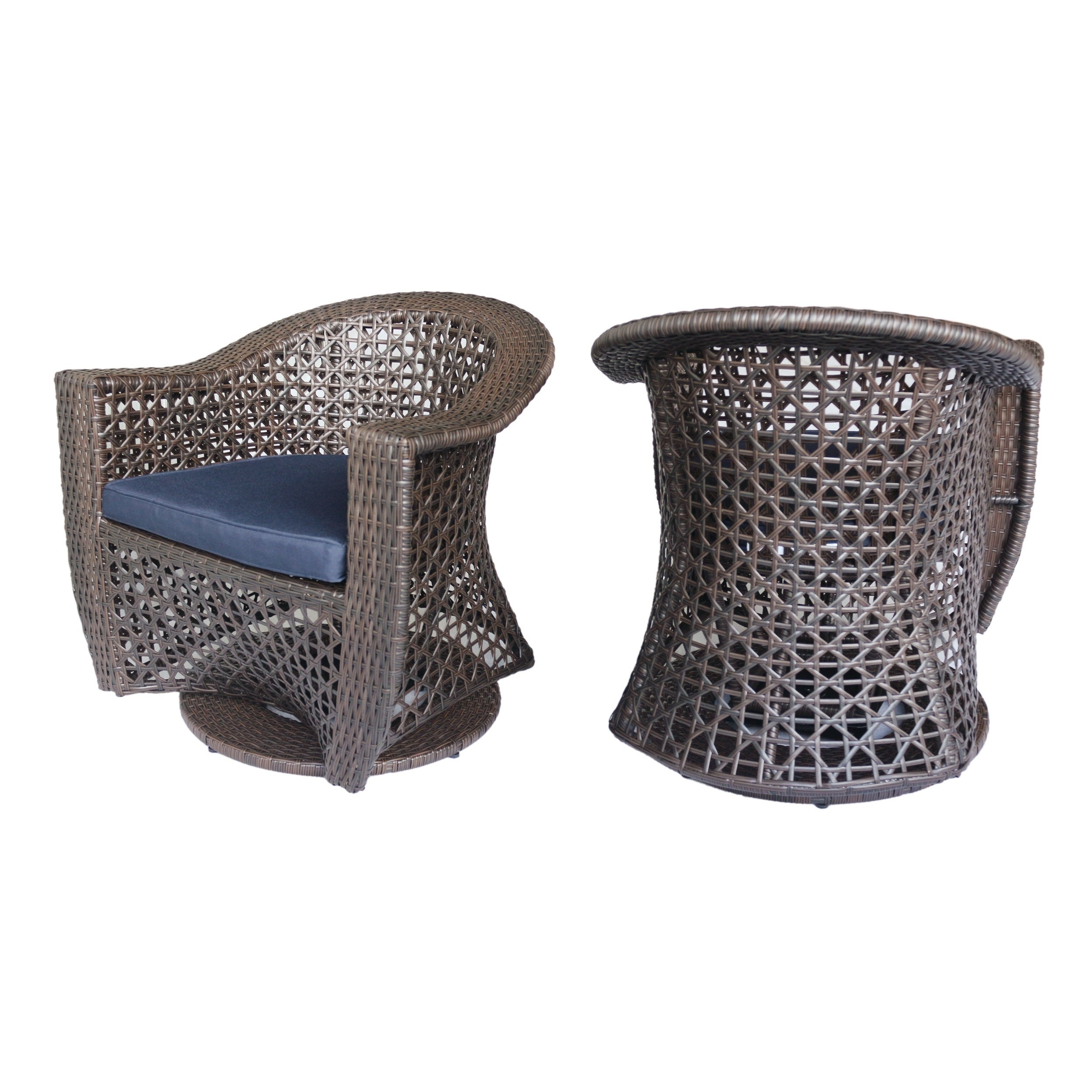 Strange Details About Big Sur Outdoor Wicker Swivel Chair With Cushions Set Of 2 Multi Brown Navy Cjindustries Chair Design For Home Cjindustriesco