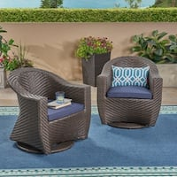 Larchmont Outdoor Wicker Swivel Chair with Outdoor Cushions (Set of 2) by Christopher Knight Home