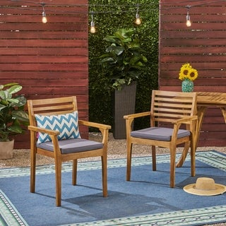 Emerson Outdoor Acacia Wood Dining Chairs with Cushion (Set of 2) by Christopher Knight Home