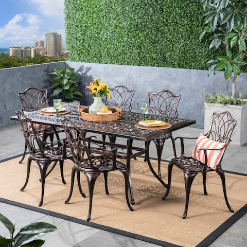 Tucson Outdoor Cast Aluminum 6-piece Dining Set by Christopher Knight Home
