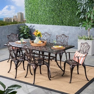Tucson Outdoor 6-Seater Rectangular Cast Aluminum Dining Set by Christopher Knight Home