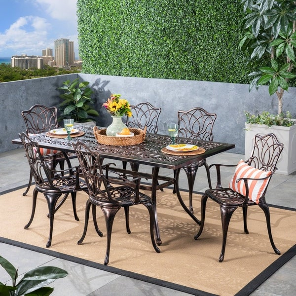 Patio Furniture Sale Tucson: Shop Tucson Outdoor 6-Seater Rectangular Cast Aluminum