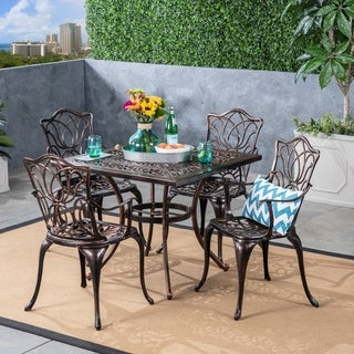 Tucson Outdoor 4-Seater Square Cast Aluminum Dining Set by Christopher Knight Home