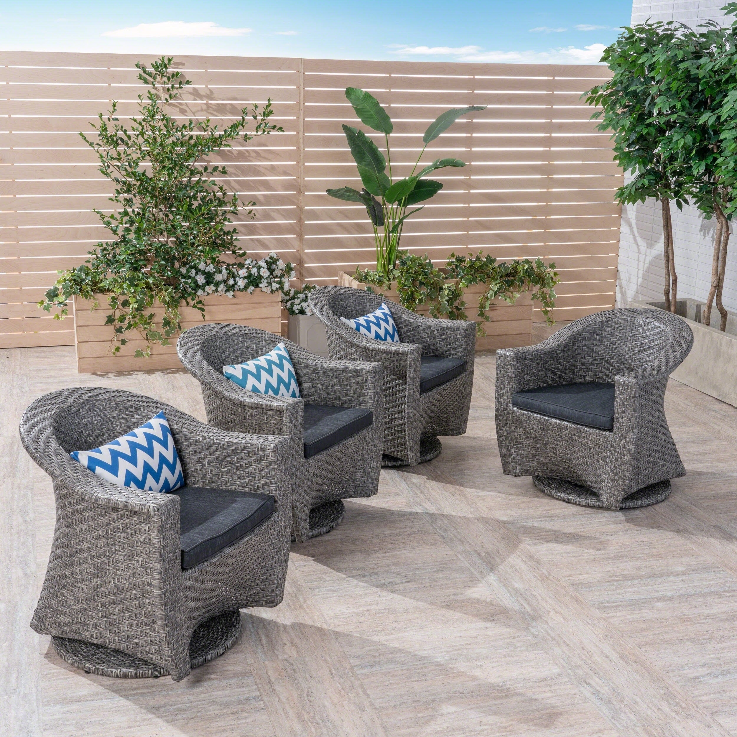 Prime Details About Larchmont Outdoor Wicker Swivel Chairs With Cushions Set Of Mixed Black Dark Cjindustries Chair Design For Home Cjindustriesco