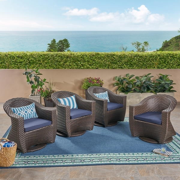 Shop Larchmont Outdoor Wicker Swivel Chairs With Cushions