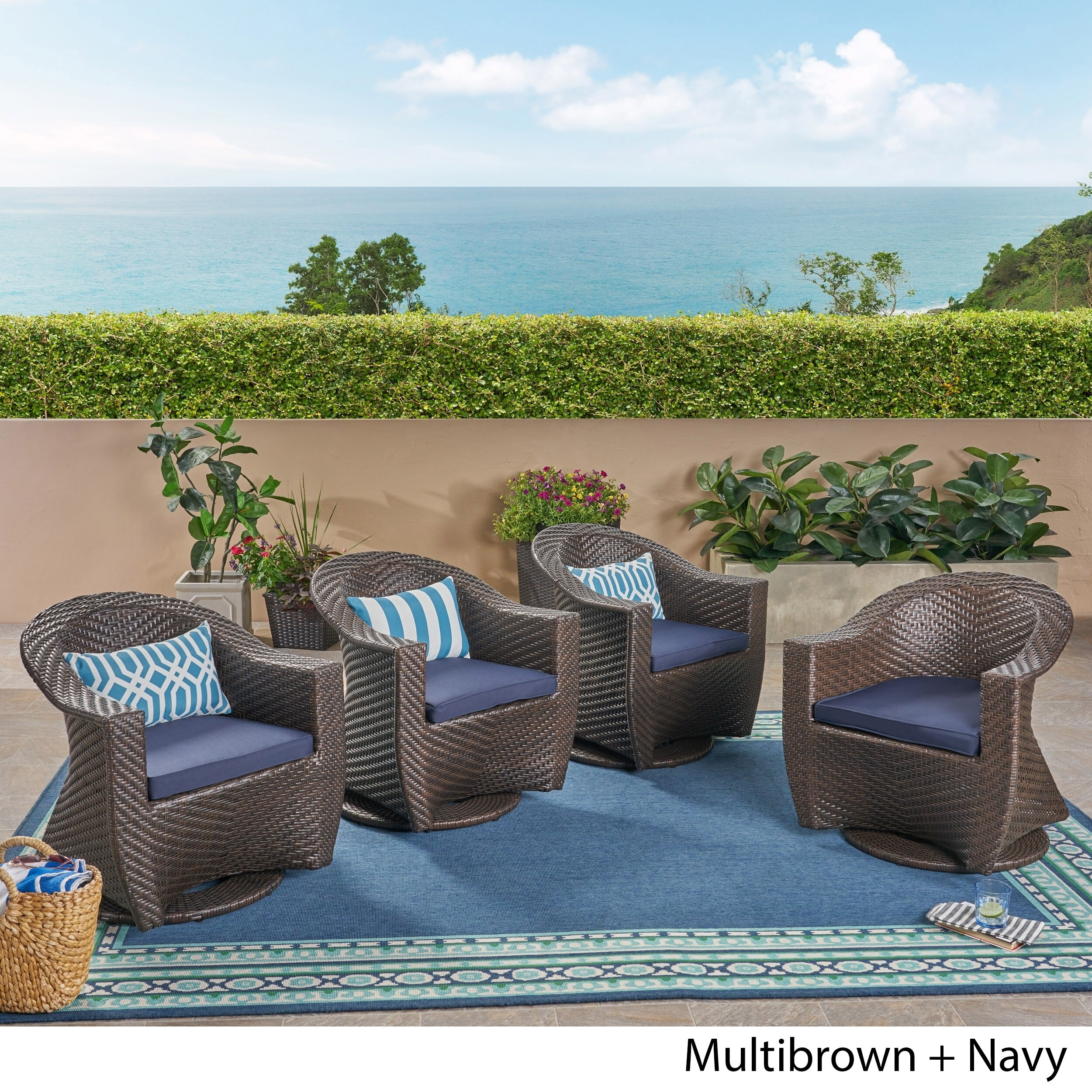 Groovy Larchmont Outdoor Wicker Swivel Chairs With Cushions Set Of 4 By Christopher Knight Home Evergreenethics Interior Chair Design Evergreenethicsorg
