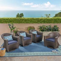 Larchmont Outdoor Wicker Swivel Chairs with Cushions (Set of 4) by Christopher Knight Home