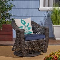 Big Sur Outdoor Wicker Swivel Chair with Cushions by Christopher Knight Home