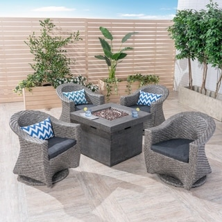 Savoy Outdoor 4-Seater Wicker Swivel Chairs with Fire Pit Set (Set of 4) by Christopher Knight Home
