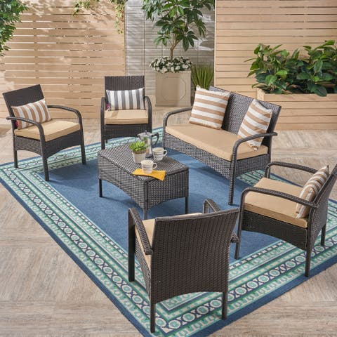 Cordoba Outdoor 6-Seater Wicker Conversation Set with Tan Cushions by Christopher Knight Home