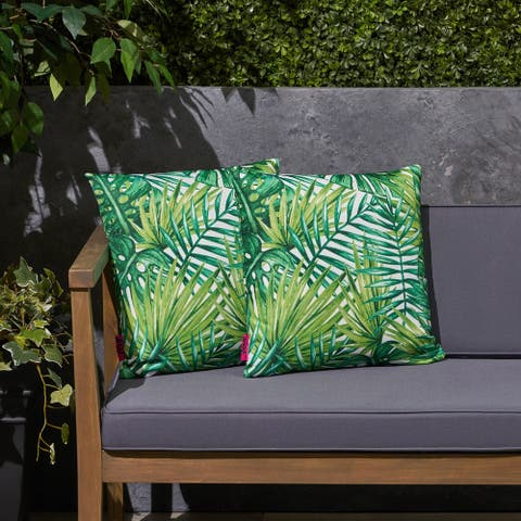 """Palms Outdoor 17.75"""" Square Cushion (Set of 2 by Christopher Knight Home"""