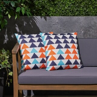 "Triangle Boho Outdoor 17.75"" Square Cushion (Set of 2by Christopher Knight Home"