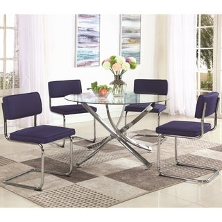 Modern Artistic Design 5-piece Glass Top Round Dining Set with Blue Fabric Chairs