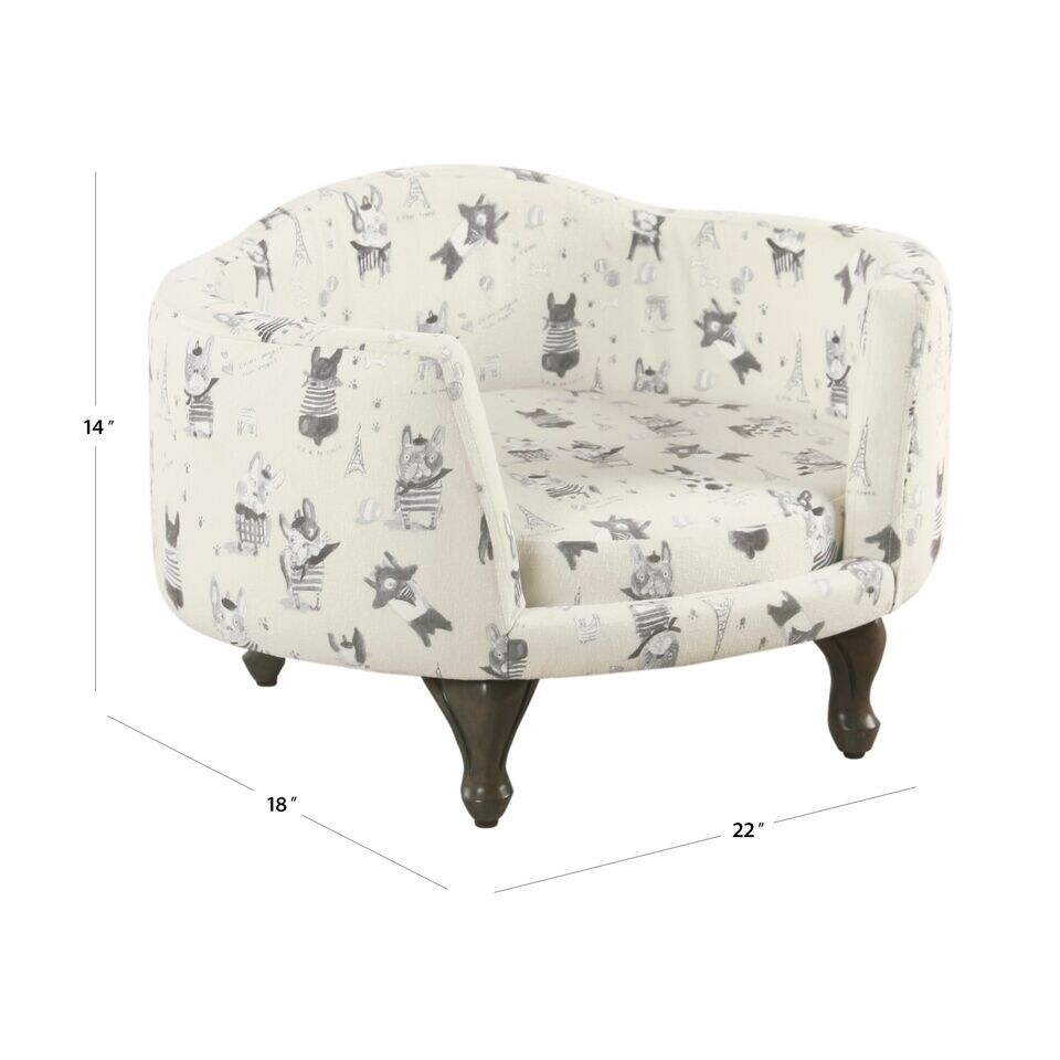 Peachy Homepop Pet Bed Stain Resistant French Bulldog Print Customarchery Wood Chair Design Ideas Customarcherynet