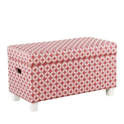 HomePop Kids Storage Bench - Pink and White Lattice