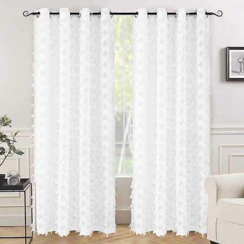 "DriftAway White Voile Grommet Semi Sheer Curtain Panel Pair - 52"" width x 84 "" length"