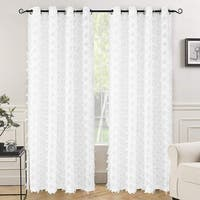 "DriftAway White Voile Grommet Semi Sheer Curtain Panel Pair - 52"" width x 84 "" length"