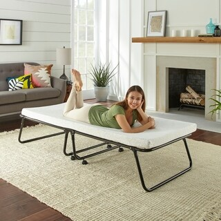 Broyhill Easy Sleep Rollaway Folding Portable Guest Bed with Memory Foam Mattress