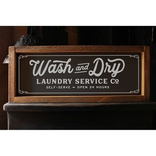 Wash and Dry Wood Framed Rustic Sign