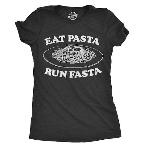 Womens Eat Pasta Run Fasta Tshirt Funny Carb Loading Cardio Tee