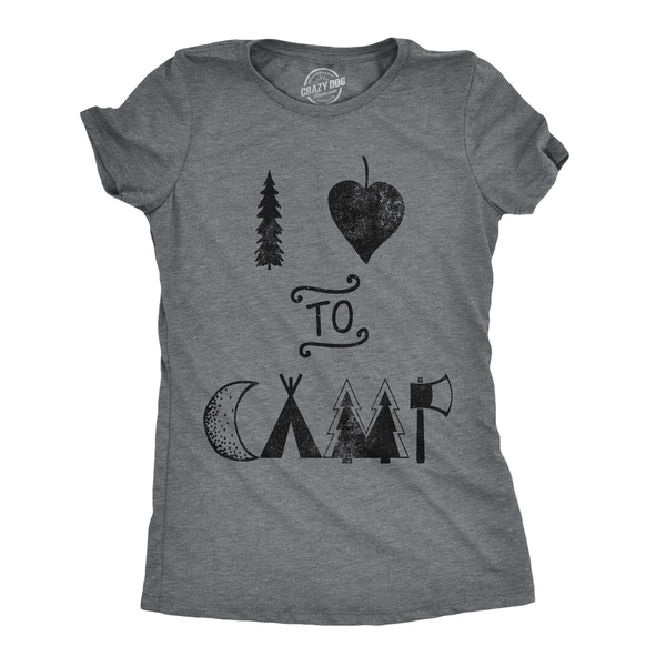 876d745b Shop Womens I Heart To Camp Tshirt Funny Cute Outdoor Adventure Tee - Free  Shipping On Orders Over $45 - Overstock - 23581216
