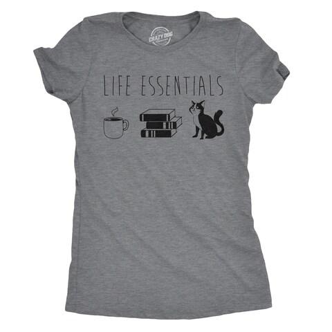 Womens Life Essentials Tshirt Funny Coffee Books Cat Lover Tee