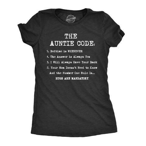 Womens The Auntie Code Tshirt Funny Niece Nephew Family Tee