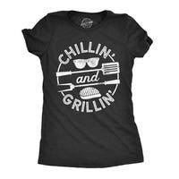 Womens Chillin And Grillin Tshirt Funny Outdoor Summer BBQ Tee